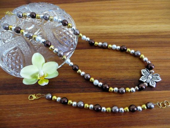 Regal Gold Brown and Butterfly Mixed-Matched Beaded by Alli Flair | FREE shipping worldwide with tracking number!