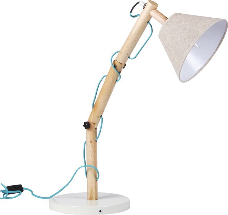 Table lamp / textile cable -   This contemporary table lamp with textile fluorescent blue cable will add a touch of nordic style to your home. It comes with a cream base, wooden natural finished pole and a beige canvas shade.  larder.com.au