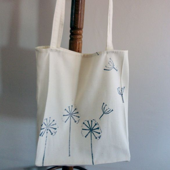 Dandelion block print Tote Bag, in White and Lilac grey.  From Criss Cross