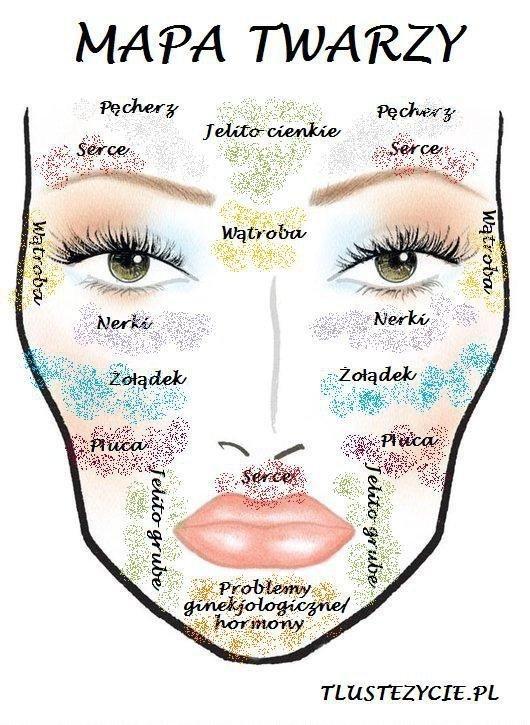 Mapa twarzy  Nasz stan zdrowia jest często wypisany na twarzy. Poniżej tradycyjna chińska mapa twarzy. Sprawdź z czym mogą być powiązane Twoje problemy ze skórą w zależności od lokalizacji.  Czoło Głównie związane z problemami trawiennymi. Czasem jest to kwestia żywności przetworzonej, czasem problemów z cukrem. Również stres i problemy ze snem powodują zmiany skórne w tym obszarze.  Skronie Problemy z nerkami lub systemem limfatycznym. Czasem problemy z toksynami i prawidłowym detoksem…