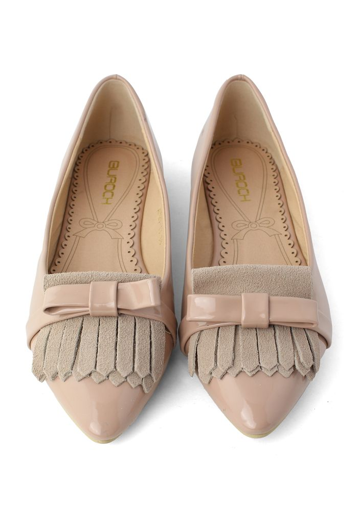 #Chicwish Tassels Bow Pointed Flat Shoes in Nude Pink - Goods - Retro, Indie and…