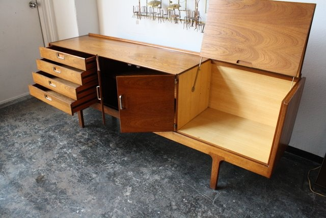 Danish credenza with lid lifted