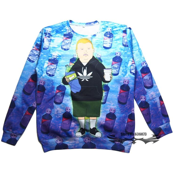 Women Men Harajuku Rap Game Bobby Hill Crewneck Sweatshirt Purple Drank funny Sweats King of the Hill Tops Jumper 3d Hoodies #Affiliate