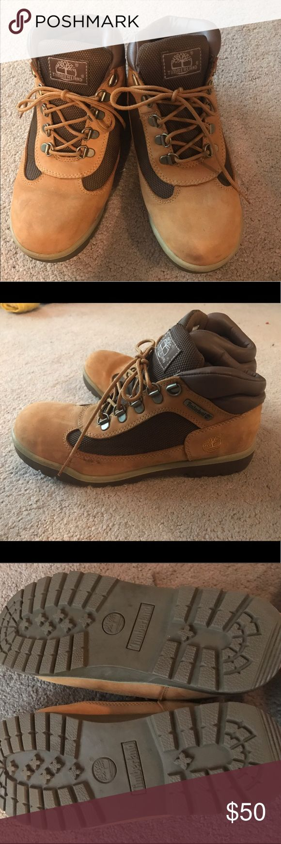 Timberland 1973 style tan and brown work boots Size 6 men's or size 8 women's, these boots are in excellent condition, barely any wear or tear. Can be worn for construction or for fashion. Timberland Shoes Winter & Rain Boots