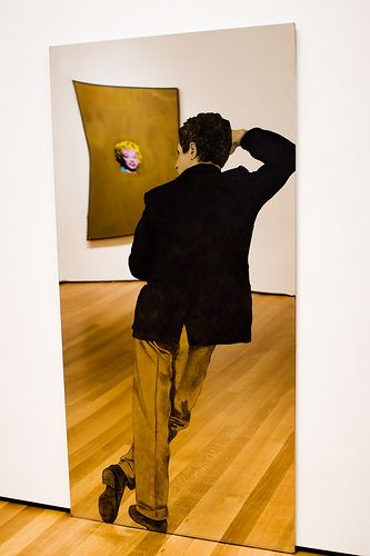 Man with Yellow Pants, 1964 by Michelangelo Pistoletto (b.1933).  Pistoletto, an Italian painter, action and object artist, is acknowledged as one of the main representatives of Italian Arte Povera.