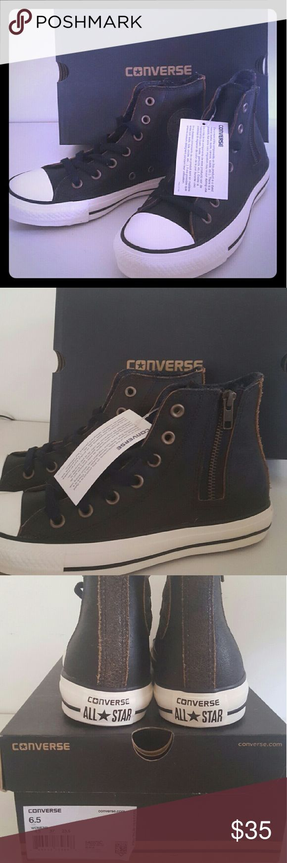 Black Leather Converse Chuck Taylor Size 6.5 Black Leather Converse Chuck Taylor high tops in a size women's 6.5. A side zip detail and black lace up. Never worn, new with tags and original box. Converse Shoes Sneakers