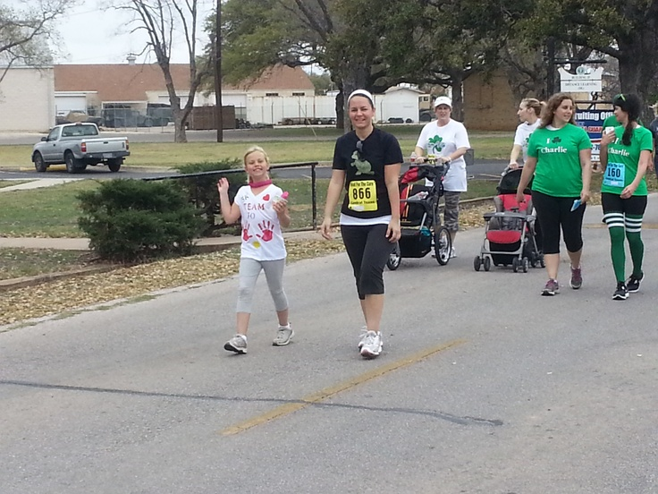 Kat and Anna almost to the finish line at the 2013 HFTC 5K