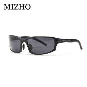MIZHO Brand UV400 oculos de sol masculino FDA Certification Polaroid Wrap Black 2018 Sunglasses Men Polarized Aluminium  Price: 1.48 USD