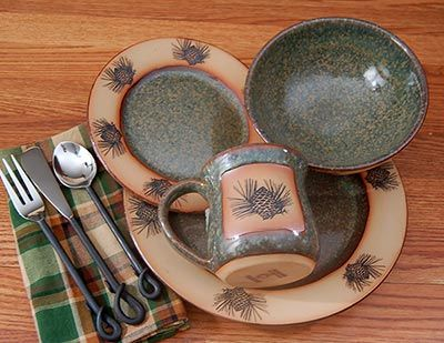 rustic dinnerware sets clearance | ... » Rustic Cabin & Lodge Dinnerware » Rustic Pinecone Dinnerware Set