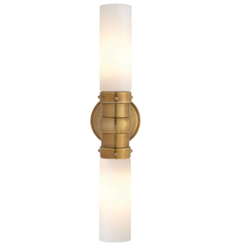 Brass Wall Sconce With Glass Shade : Modern and elegant, our Graydon Double Wall Sconce features white glass tube shades. * Available ...