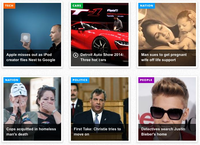 USA Today - Colour coding and iconography depict content type and category.
