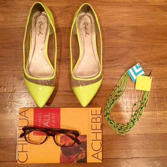 Neon Flats! Clear & neon vinyl material detail. Pre-Loved, lots of life left!  (green necklace also available, see listing in my closet).   Like the ensemble? Check out the rest of my closet to see if it's still available!!  Shoes Flats & Loafers