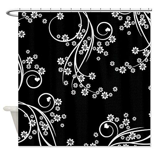 Curtains Ideas black shower curtain with white flower : 17 Best images about new bathroom on Pinterest | Ruffled shower ...
