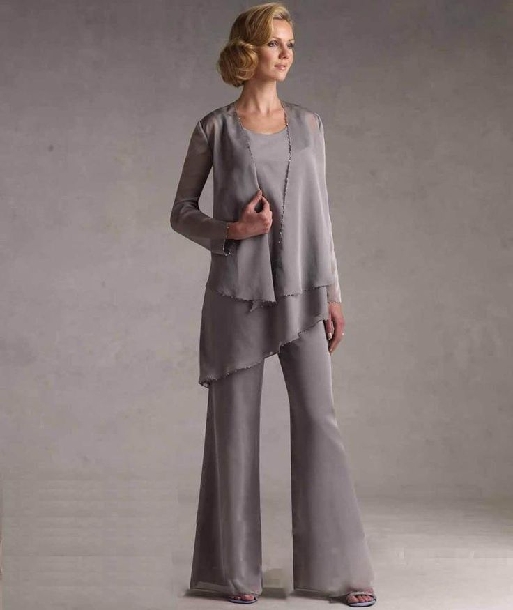 2015 Chiffon Mother Of The Bride Pants Suits With Jacket