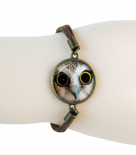 Сова птица браслет стеклянный купол животных браслеты Сова ручной ювелирного Искусства Подарок для Сова Любовника ювелирные Птицы кожаный браслет оптовая