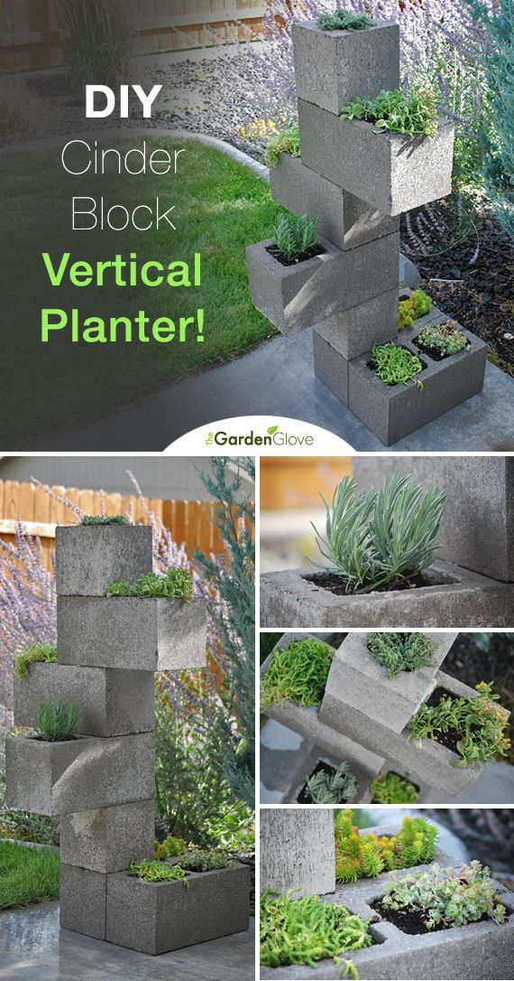 DIY Cinder Block Vertical Planter • Full Tutorial with step by step instructions! Cool! Easy garden DIY, garden containers, urban garden container, urban gardening, modern garden container