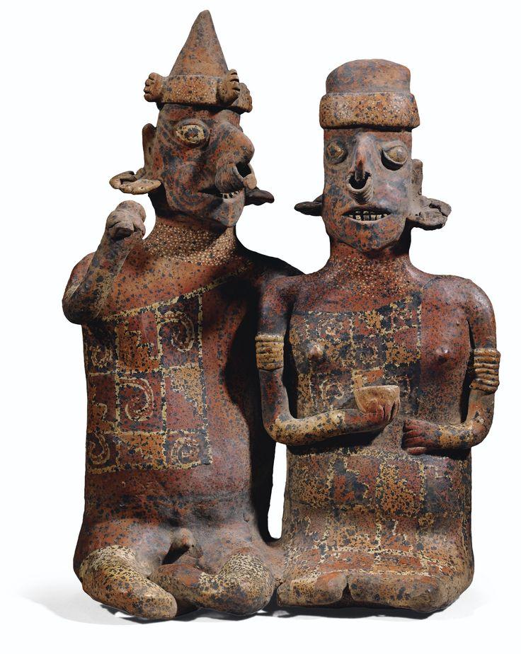 Couple anthropomorphe assis<u><u><u> </u></u></u><br>Culture Nayarit<br>Style de Ixtlán del Río, Mexique occidental<br>Protoclassique, 100 av. J.-C.-250 ap. J.-C. | lot | Sotheby's