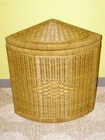 Indo ratanový prádelní koš rohový - světlý