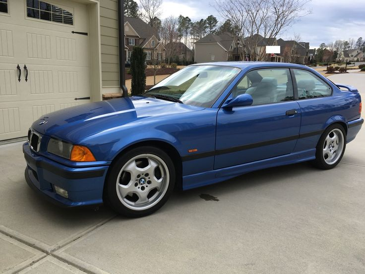 1999 BMW M3 Coupe 5-Speed  This 1999 BMW M3 is a stock coupe from the final year of E36 production that is finished in Estoril Blue over two-tone gray leather. The car was …  http://bringatrailer.com/listing/1999-bmw-m3-12/