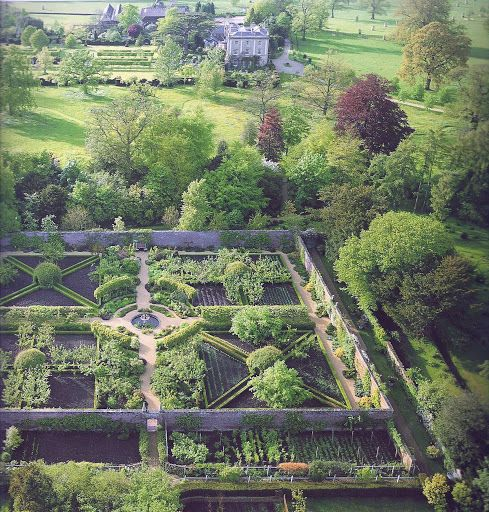 The Garden at Highgrove - The Walled Garden seen from above showing the pattern of St. George's crosses mixed with St. Andrew's crosses. The Standing Garden lies beyond the south wall.