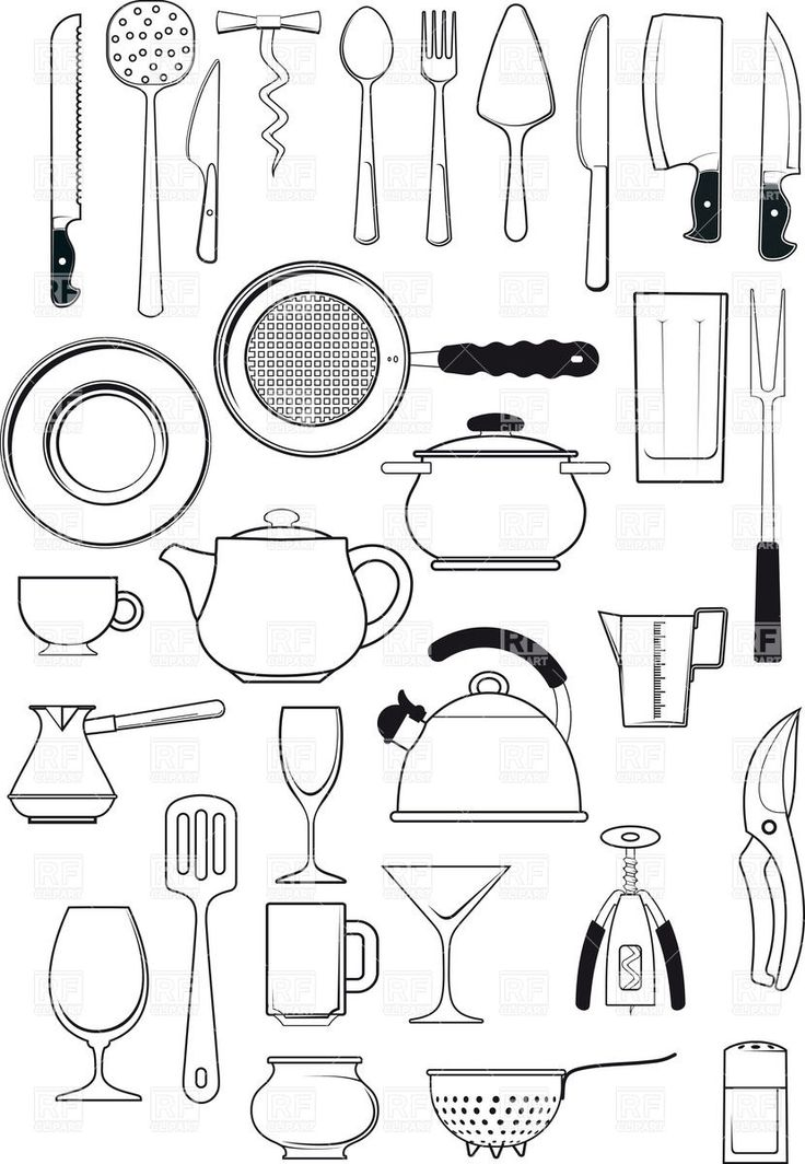 Tableware kitchen utensils silhouettes download royalty for Kitchen blueprints free