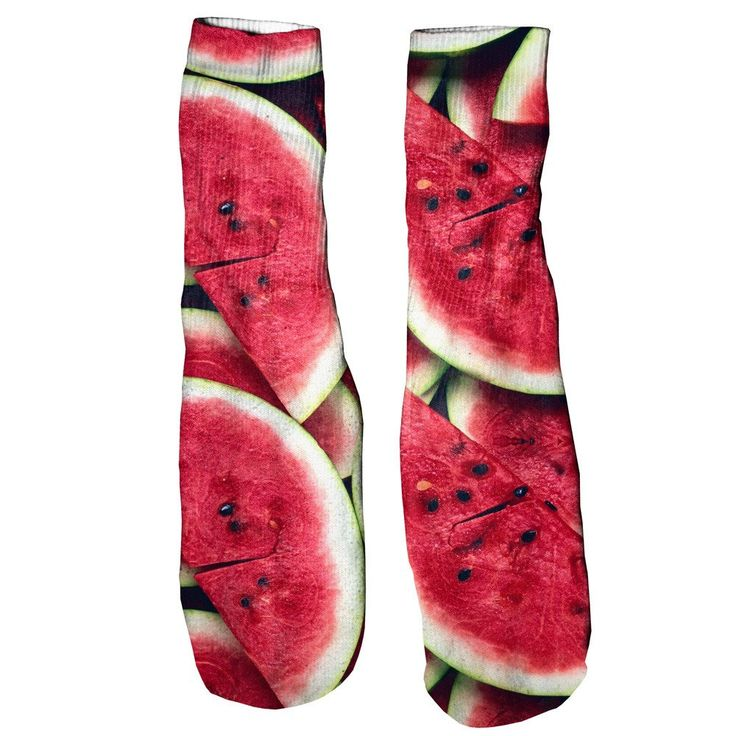 Watermelon Foot Glove Socks  We're not sure what's better... the thought of a juicy slice of watermelon right now or the eye-popping red on these foot gloves.    Soft and comfortable vibrant prints allover that are guaranteed to never fade or peel. Made of 100% cotton.