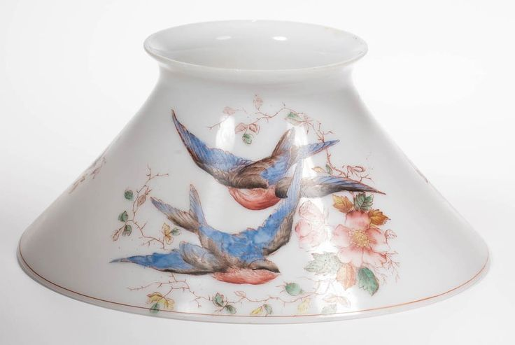 Lot: OPAL TRANSFER-DECORATED CONE SHADE, Lot Number: 0682, Starting Bid: $50, Auctioneer: Jeffrey S. Evans & Associates, Auction: Miniature Lamps, Kerosene &  Related Lighting, Date: May 30th, 2015 EDT