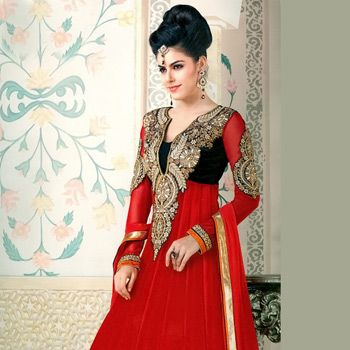 Red Faux Georgette Abaya Style Churidar Kameez Online Shopping: KGB2337