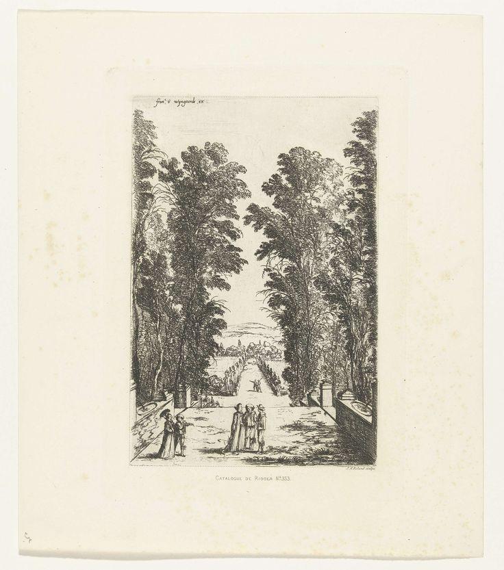 Johannes Arnoldus Boland | Wandelaars op een terras, Johannes Arnoldus Boland, Fouceel, 1874 | In een tuin wandelen mensen op een terras. Aan weerszijden van het pad staan hoge bomen en in de muur zijn fonteinen verwerkt.