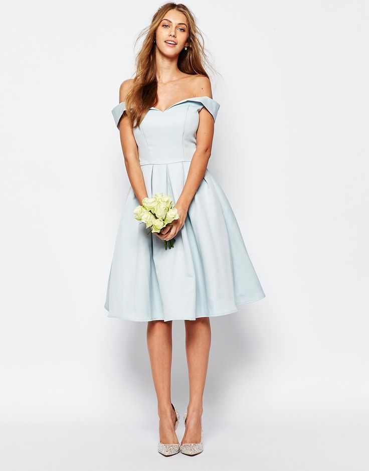 Image 4 ofChi Chi London Midi Prom Dress with Full Skirt and Bardot Neck