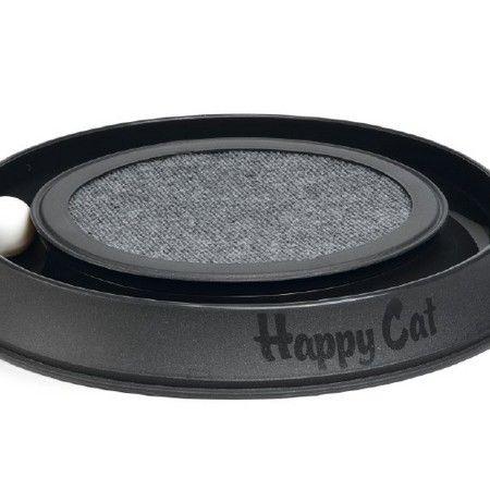 Een plastic speeltje, genaamd Happy Cat. Aan de buitenzijde van dit speeltje is een sleuf waar een balletje in zit. Uw kat zal hier, op zijn of haar actieve momenten op de dag, heerlijk mee kunnen spelen. Het balletje zal de sleuf niet verlaten maar telkens, als er met een pootje tegenaan geslagen wordt, zal het ronddraaien. Het binnenste gedeelte is voorzien van vloerbedekking om in de natuurlijke behoefte van het krabben te kunnen voorzien. Kleur: antraciet.