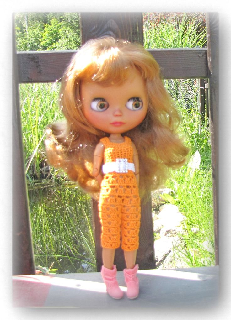 Crocheted overal with strap      FREE Shipping by Shopdollwithowl on Etsy