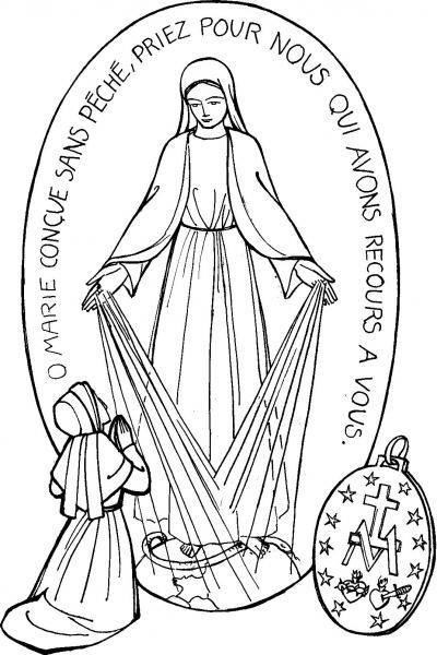 Saint Catherine Laboure and the Miraculous Medal Colouring page.  Coloriage de La Médaille Miraculeuse   Avec Marie, les enfants du monde prient pour la paix et les vocations