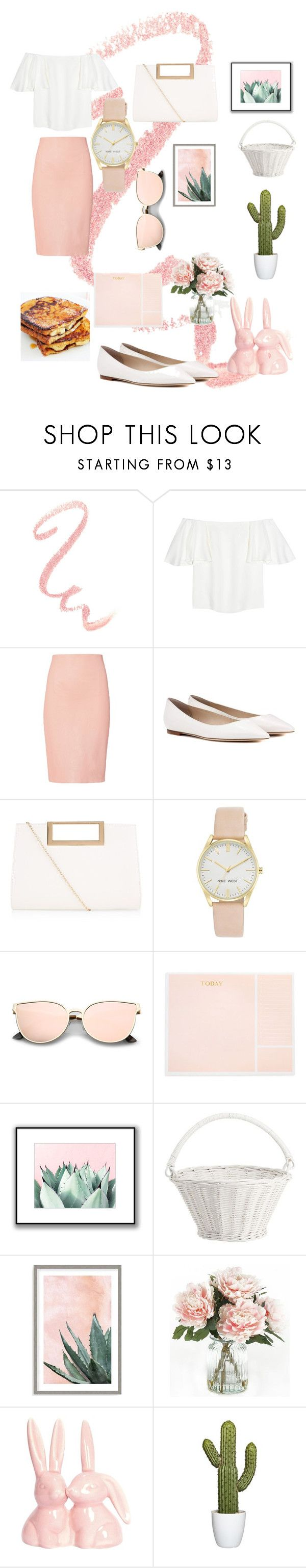 """""""National Pink Day"""" by nubianprincess1999 ❤ liked on Polyvore featuring Valentino, ThePerfext, Jimmy Choo, New Look, Nine West, Sugar Paper, Pottery Barn, Art Addiction, Home Decorators Collection and French Toast"""
