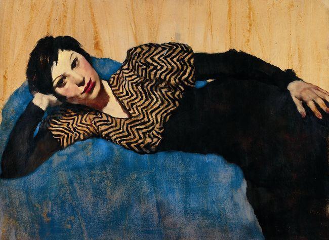 """Lotte Laserstein (1898-1993): """"Liegendes Mädchen auf Blau"""", 1931."""