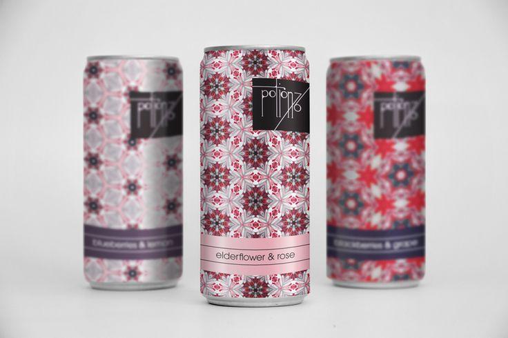 Packaging design, drink, feminine, pattern, graphic design, inspiration, floral, flowers, kaleidoscopic, girly