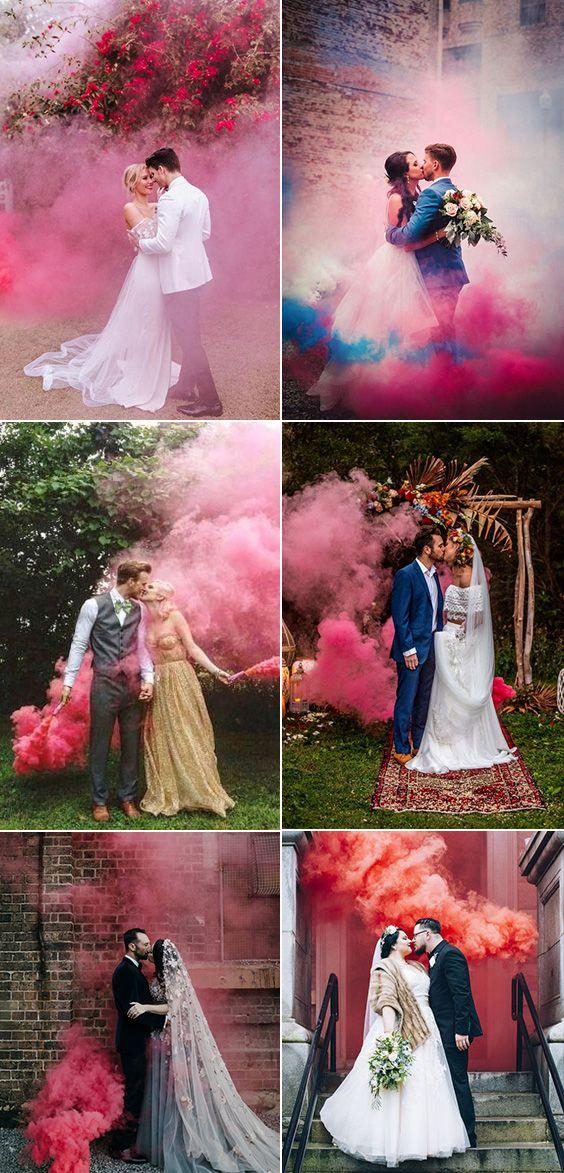 50 Colorful Smoke Bomb Wedding Photo Ideas – Lifesacake