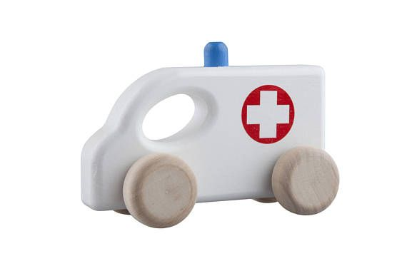 WOODEN TOY Wood Car AMBULANCE  Safe Eco Toy Natural Toy