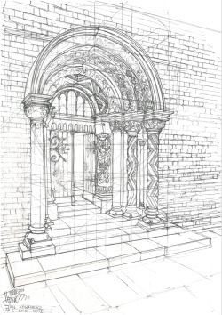 "gopalik:  ""Second phase of a Romanesque portal""Size A3Finelinear"