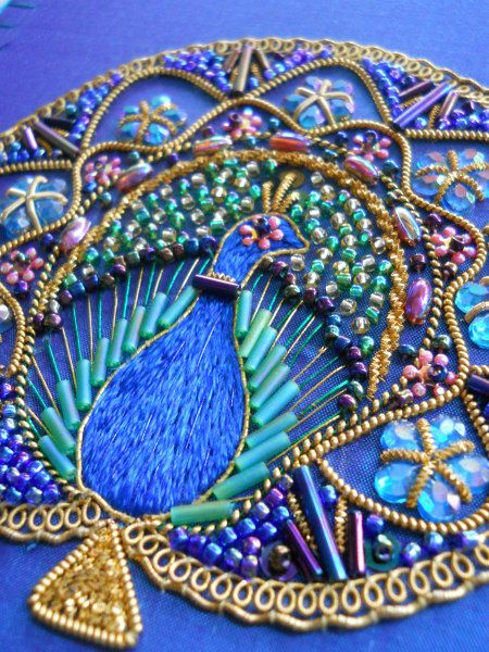 WOW! Hand embroidered peacock on silk. Beads, sequins, embellishments, goldwork and silk shading