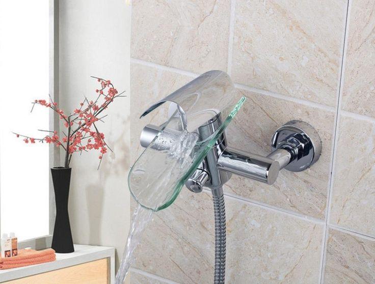 Водопад плитка дизайн настенные 8208/9 с одним рычагом с ручной душ двойной управление хромированная прозрачное стекло носик смеситель кран