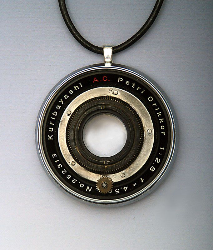 Jewelry Petrie Camera Pendant with Glass Lens Recycled Upcycled OOAK  Unique for Photographes and Photo Fans