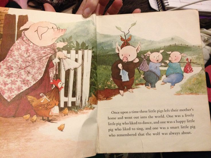 This illustration has leading lines and lines of sight. The mum pig is looking at the children which encourages the reader to look also. The path also leads the reader around the page.The Three Little Pigs. Retrieved from https://www.education.com/game/three-little-pigs/
