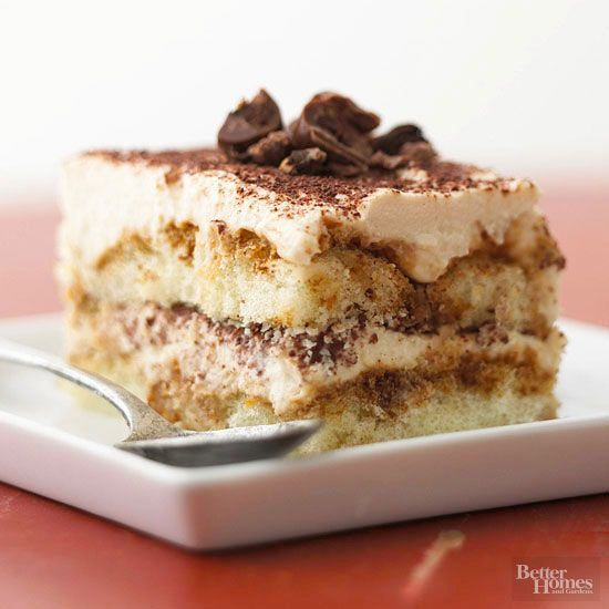 """Tiramisu means """"pick me up"""" in Italian, but to most of us it means an amazing dessert that layers espresso, ladyfingers, chocolate, and creamy mascarpone cheese"""