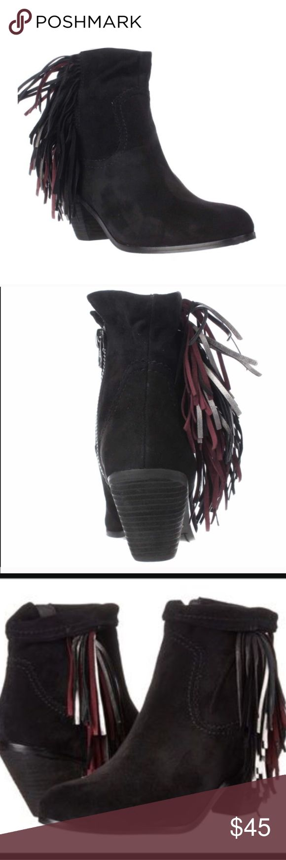 """Sam Edelman Louie Style Booties New, never worn, Sam Edelman Louie style booties with maroon, silver and black side fringes! There is some writing on the bottom of the shoes, but obviously this doesn't effect the shoes themselves. A cascade of tassels falls down to the heel of a chic ankle boot featuring a collar that can be cuffed for a different look. Side zip closure • Approx. heel height: 2 1/4"""" • Approx. boot shaft height: 5"""" uncuffed • Suede upper/synthetic lining and sole. Get them at…"""