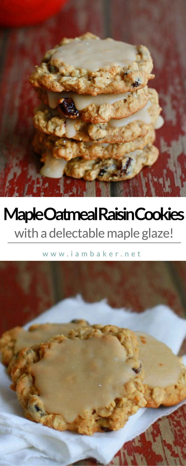Craving for easy cookies recipes? You gotta try this Maple Oatmeal Raisin Cookies!  It is a jazzed up oatmeal cookie with a delectable maple glaze. That maple glaze is so rich, so complimentary to that subtle sweet spicy cookie, its like a match made in cookie heaven. For more delicious dessert recipes to make, check us out at #iambaker.  #desserts #sweettooth  Easy Dessert Recipes | Easy Thanksgiving Desserts Recipes