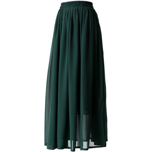 Chicwish Darkgreen Pleated Maxi Skirt (600 MXN) ❤ liked on Polyvore featuring skirts, pleated chiffon maxi skirt, chiffon maxi skirt, long pleated skirt, maxi skirt and green pleated skirt