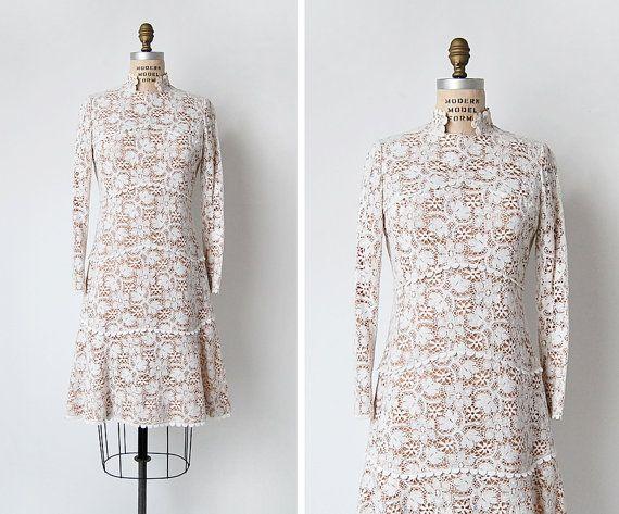 robe vintage des années 60 / années 60 coton dentelle robe / robe de mariage des années 1960