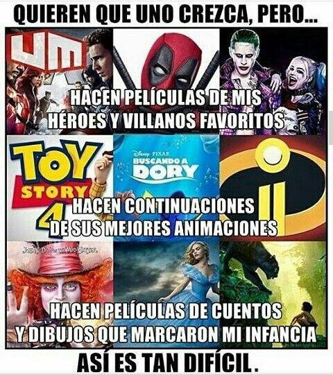 Deadpool,Toy story y Alicia atravez del espejo son mis favoritos