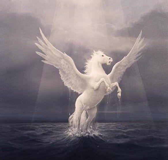 En la mitología griega, Pegaso es un caballo alado.  Al poco tiempo de nacer, Pegaso golpeó el suelo del monte Helicón y de este golpe surgió un manantial que se considera la fuente de la inspiración poética. A pesar de los intentos que muchos hicieron por domar al mágico y veloz caballo, sólo Belerofonte lo consiguió gracias a una brida mágica que le ofreció la diosa Atenea en sueños.